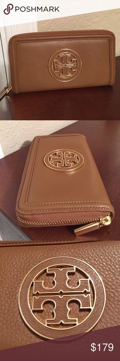 """🆕Tory Burch """"Amanda"""" wallet in Bark Leather. NWT. This beautiful Amanda continental wallet is a rich pebbled Luggage color (Bark). Inside holds 4 credit cards on each side, middle coin compartment, 2 bill areas and 2 sections for receipts and up to an iPhone 6. On the front has the classic double T logo raised in gold and black leather. Very nice design.... New, with tag, never used. Approximate Measurements: 7.5"""" L x 4"""" H x 1"""" D. Tory Burch Bags Wallets"""