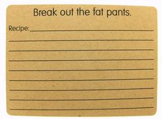 Funny recipe cards