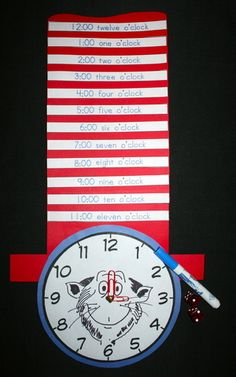A fun game for your Seuss-themed activities.  Students make their analog cat clock and add digital time stripes to their hat by rolling dice.