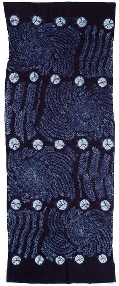 Africa | Woman's wrapper from the Yoruba people of Nigeria.  ca. 1977 | Length of factory cotton cloth, tie-dyed with indigo in a spiral pattern