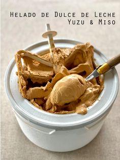 Helado de dulce de leche, yuzu y miso – Tarthélémy Sin Gluten, Sorbets, Dessert, Peanut Butter, Cereal, Breakfast, Food, Popsicle Recipes, Custard