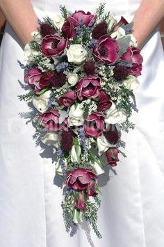 Plum Anemone, Thistle & Rose Cascading Bridal Wedding Bouquet