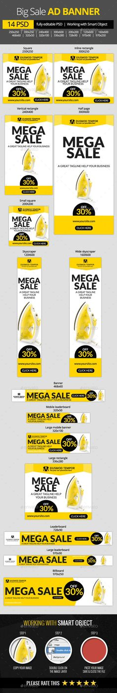 Big Sale Web Banners - Banners & Ads Web Template PSD. Download here: http://graphicriver.net/item/big-sale-web-banners/10961585?s_rank=1775&ref=yinkira