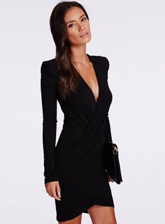 36e4288c The dress is featuring solid color, v neck, long sleeve. Vestido Bodycon,