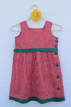 Vestido Boneca Listra Vermelho                                                                                                                                                     Mais