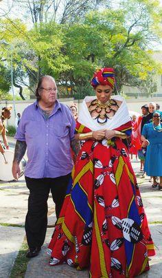 Sarah Langa Heaton traditional African wedding ceremony in a isiSwati dress African Wedding Attire, African Attire, African Wear, African Women, African Beauty, Xhosa Attire, African Weddings, African Style, African Fashion Designers