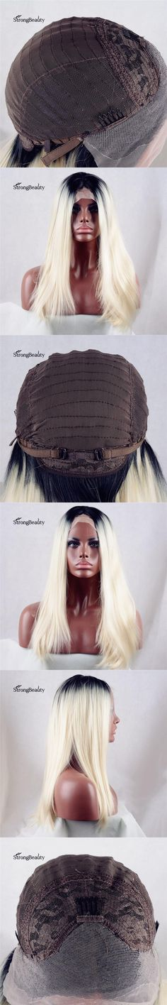 Strongbeauty Long Silky Straight Bleach Blonde Wig Synthetic Ombre Black to Light Blond Lace Front Wig for Black Women