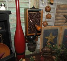 Primitive Antique Vtg Cast Iron Wooden Glass X Ray Coffee Grinder Mill w/ Cup…