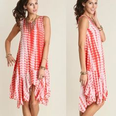 Coral Tie Dye Boho Dress This dress features an asymmetrical sharkbite hem and a tie dye print.Sizes: S M L leave comment with your size to purchase Dresses