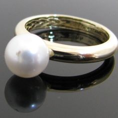 Classic pearl ring set in a heavy yellow gold band. This lustrous pearl is creamy white in colour, measures in diameter and compliments the yellow gold beautifully. Ring size: P Price: 295 Euro SKU: 1077  Pearl Ring, Pearl Jewelry, Diamond Rings, Diamond Engagement Rings, Galway Ireland, Gold Bands, Unique Vintage, Wedding Rings, Jewellery