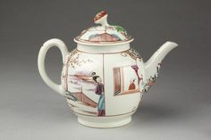 ca. 1770 (made)  Artist/maker  Royal Worcester (manufacturer)  Materials and Techniques  Soft-paste porcelain painted with enamels and gilded  Dimensions  Height: 16.5 cm, Diameter: 12.1 cm  Descriptive line  Teapot and cover of soft-paste porcelain painted with enamels and gilded, Worcester porcelain factory, Worcester, ca. 1770