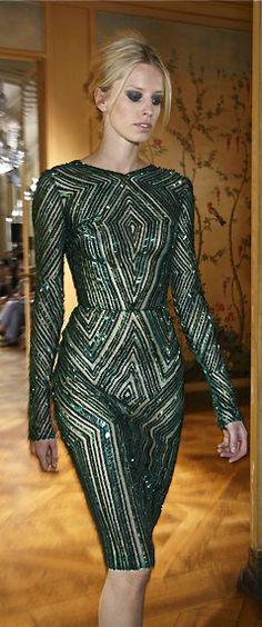 On Letizia: Zuhair Murad green sparkly cocktail dress Couture Fashion, Runway Fashion, High Fashion, Zuhair Murad, Marchesa, Elie Saab, Beautiful Gowns, Beautiful Outfits, Sparkly Cocktail Dress