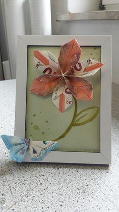 Geldgeschenke Idee Blume geht super schnell und einfach. Schmetterling ist anspruchsvoller von der Technik.