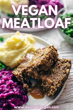 Super tasty vegan meatloaf made with lentils and mushrooms. Comes with a delicious and easy vegan gravy recipe too. Perfect for vegan dinners or for vegan Thanksgiving or Christmas meals. Meatloaf With Gravy, Vegan Meatloaf, Vegan Gravy, Vegan Thanksgiving, Vegan Dinners, Lentils, Vegan Recipes, Stuffed Mushrooms, Tasty