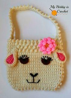 My Hobby Is Crochet: Darling Sheep Crochet Purse for Little Girls   Free Pattern   My Hobby is Crochet