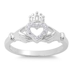 925 Sterling Silver CZ Royal Crown Claddagh Ring 11MM