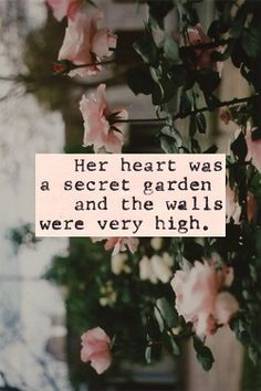 """Her heart was a secret garden and the walls were very high. """"But I will get in"""" he whispered, his breath fluttering across my face. """"Whether I find the key or knock down the door"""" he shifted closer, the warmth of his body like an open flame """"I will get in"""" -anj SCARS IDEA"""