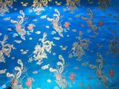 Peacock Blue Oriental Chinese DRAGON Silk Brocade Fabric