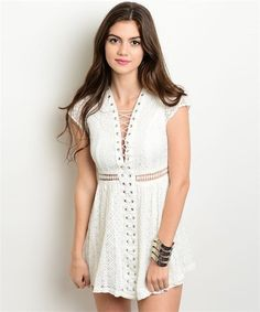 White Lace Up Crochet Dress