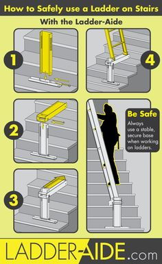 How to use a ladder on stairs safely and easily with the Ladder-Aide. Great for painting changing lightbulbs drywall and other stuff Painting Tips, House Painting, Painted Stairs, How To Paint Stairwell, Ladder Accessories, Router Table Plans, Construction Tools, Home Workshop, Making Life Easier