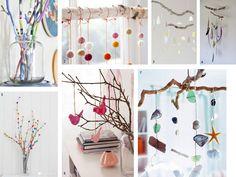 Móviles y decoraciones con ramas finas para habitaciones infantiles