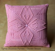 """Tufted Dogwood Pattern 12"""" Crochet Square Pillow -  READY TO SHIP - Double Sided design"""