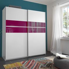 Furniture In Fashion Shine Sliding Wardrobe In Alpine White With 2 Door And Light Sliding Wardrobe Designs, Sliding Wardrobe Doors, Wardrobe Design Bedroom, Bedroom Furniture Design, Home Decor Bedroom, Wooden Wardrobe, Wardrobe Furniture, Bedroom Cupboard Designs, Bedroom Cupboards