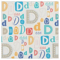 Monogram fabric with initial D