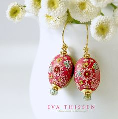 China Rose beautiful hand made hand appliqued polymer clay earrings. Made to order by Eva Thissen Gallery, via Flickr