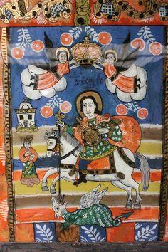 """St George"" Antique Painting on Glass - Folk Art of Europe & Rest of World Best Icons, Antique Paint, Naive, Folk Art, Saints, Vibrant, Rest, Delicate, Museum"