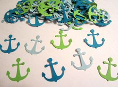 100 Nautical Anchors Lime Green Light Blue Turquoise/Teal Paper Embellishments Confetti Birthday Party Decorations Favor. $2.85, via Etsy.