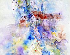 Originele aquarel van huizen achter takken, landschap van Frankrijk, aquarel van het schilderij van takken van bomen front huizen