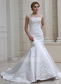 Wedding Dresses - $227.99 - Trumpet/Mermaid Sweetheart Chapel Train Organza Satin Wedding Dress With Embroidery Beadwork Sequins (002012227) http://jjshouse.com/Trumpet-Mermaid-Sweetheart-Chapel-Train-Organza-Satin-Wedding-Dress-With-Embroidery-Beadwork-Sequins-002012227-g12227?ver=0wdkv5eh