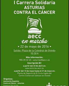 Desde la AECC nos anuncian la I Carrera Solidaria Asturias contra el cáncer. Se puede participar en carrera o caminata, con niños o mascotas. Los 1500 primeros inscritos, camiseta gratis. Hemos comenzado a colaborar con la asociación, así que pronto os contaremos cositas para aportar nuestro granito de arena. :D #aecc #colabora #participa