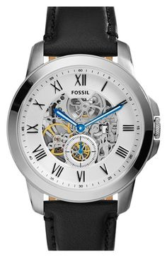 Fossil+'Grant'+Automatic+Leather+Strap+Watch,+44mm+available+at+#Nordstrom