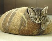 M size cat bed/cat cave/cat house/fire/felted cat cave (With GIFT pad). $57.00, via Etsy.