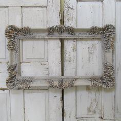 Ornate frame Large hand painted putty gray by AnitaSperoDesign