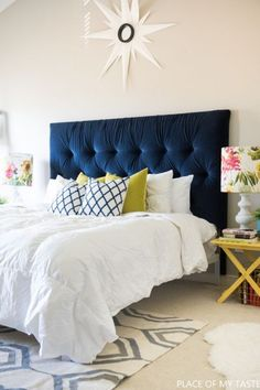 Home Decor Eclectic Gorgeous Blue Bedroom Decor Ideas - Blue Tufted Headboard by Place of My Taste.Home Decor Eclectic Gorgeous Blue Bedroom Decor Ideas - Blue Tufted Headboard by Place of My Taste Diy Tufted Headboard, Blue Headboard, Velvet Headboard, Blue Bedding, Headboards For Beds, Headboard Ideas, Making A Headboard, Padded Headboards, Rustic Headboards