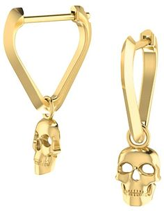 b0c8494ef ICONERY x Andrea Linett 14K Yellow Gold Small Triangle Huggie Hoop Earrings  with Skull Charms -