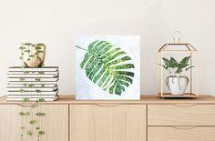 patterned leaf artwork tropical leaf painting  tropical