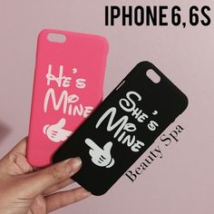 NEW VALENTINE IPhone 6, 6s Couple Cases Brand new in plastic bag Color: Pink and Black. LAST PHOTO IS ACTUAL COLOR Fits 6, 6s. Hard cases Note: Due to the difference between different monitors, the actual color of the item may be slightly different.  NO TRADE M's Boutique Accessories Phone Cases