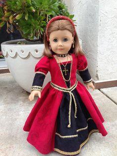American Girl Dolls : Red black embroidered velveteen and gold ribbon trimmed . American Girl Doll Costumes, American Girl Crafts, American Doll Clothes, Ag Doll Clothes, Doll Clothes Patterns, American Girls, Madame Alexander, Bjd, Chibi