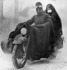 Winter motorcycle riders