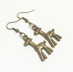 Giraffe Antique Bronze Drop Earrings -Charm Earrings-Drop Earrings- Animal Earrings- Bohemian Hobo Style Earrings