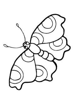 Coloriage d'un papillon avec des ailes à motifs ronds