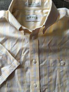 Men ORVIS Yellow White Blue Plaid Large Shirt S/S #Orvis #ButtonFront