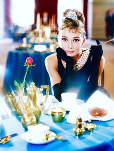"Audrey Hepburn in a promotional shot for ""Breakfast at Tiffany's"" dir. Blake Edwards (1961)."