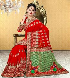 USD 61.04 Red Embroidered Faux Georgette Bridal Saree 29061