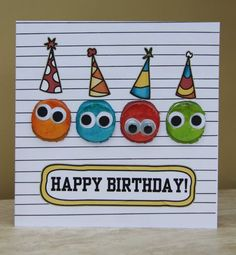 homemade birthday cards   punched the little faces out with my circle punch and stuck them on ...