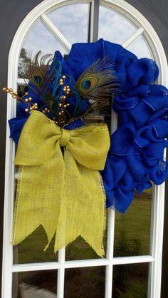 Blue You A Kiss Peacock Wreath; so pretty